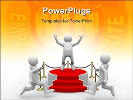 PowerPoint template displaying podium. Isolated 3D depiction in the background.