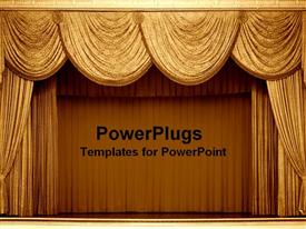 PowerPoint template displaying gold curtains on a stage in a theater for a show as a metaphor on a brown background
