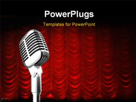 PowerPoint template displaying mic over red swag theater curtain background