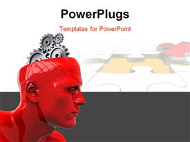 PowerPoint template displaying abstract 3D robot head with gear wheels inside in the background.