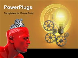 Light bulb and gear work composition. Digital illustration powerpoint theme
