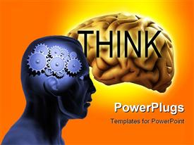 PowerPoint template displaying conceptual about intellect featuring a brain