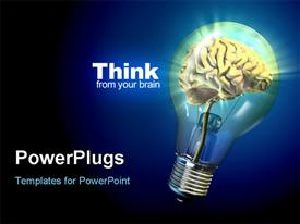 PowerPoint template displaying human brain inside a glowing electrical bulb, thinking concept