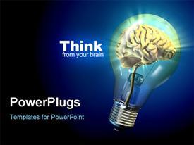 Human brain inside a glowing electrical bulb. Digital illustration powerpoint design layout