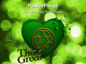 PowerPoint template displaying green heart shape with golden recycling symbol and think green words