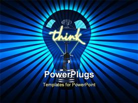 PowerPoint template displaying fun 3D generated Light bulb, ideal for ideas or being green