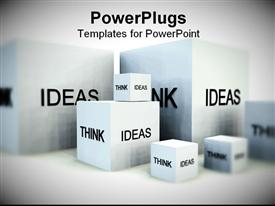 PowerPoint template displaying small, medium, and large boxes with words Think Ideas