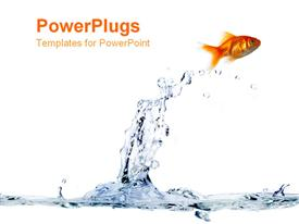 PowerPoint template displaying a gold fish jumping out of the blue water with a white background as a metaphor