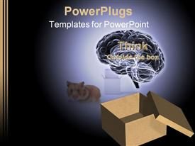 PowerPoint template displaying animated depiction of an open box with a brain and a cat