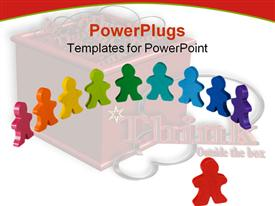 PowerPoint template displaying colorful Human depictions arranged in a circuler straight line