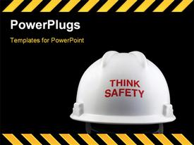 PowerPoint template displaying think safety message on the back of a hard hat in the background.
