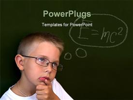 PowerPoint template displaying pensive lad by the blackboard touching his chin while thinking of difficult formula