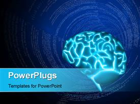Illustration of a glowing human brain powerpoint template