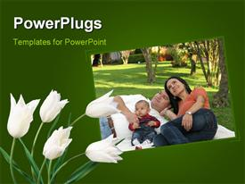 PowerPoint template displaying a family of three having a picnic and some white flowers beside them