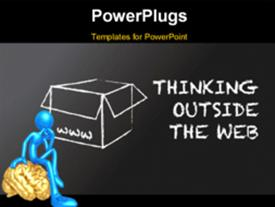 PowerPoint template displaying an open box with a person sitting on a brain