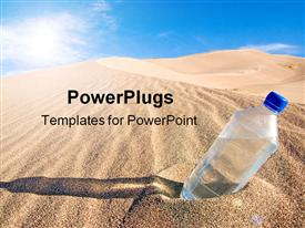 PowerPoint template displaying cold bottle of water sitting in a sand dune