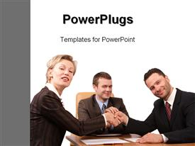 PowerPoint template displaying three business people handshake-Deal