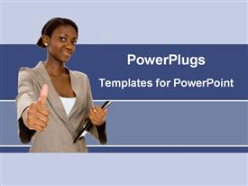 PowerPoint template displaying afro-American businesswomen showing the thumbs up