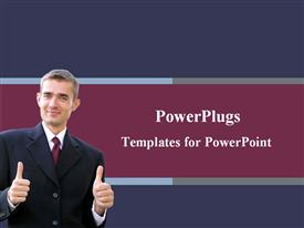 Business man showing the thumbs up template for powerpoint