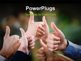 PowerPoint template displaying multiple human hands showing thumbs up