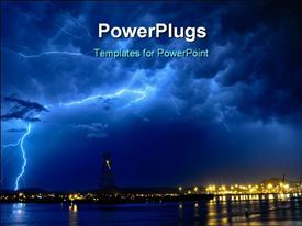 PowerPoint template displaying big luminous thunder at sea on a dark blue sky