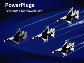 PowerPoint template displaying four thunder bird jet planes on a dark blue background