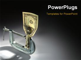 Single Dollar bill crushed in an adjustable clamp powerpoint template