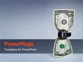 PowerPoint template displaying tighten belt on dollar concept