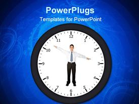 PowerPoint template displaying business man in a clock pointing at a certain time