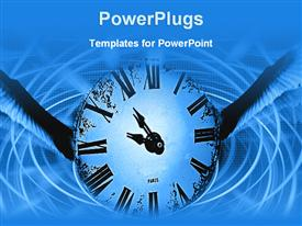 PowerPoint template displaying depiction of vintage analogue clock in blue abstract background