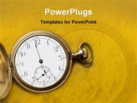 PowerPoint template displaying time metaphor with vintage antique gold pocket watch, yellow background