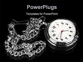 PowerPoint template displaying pocket watch on a black reflective surface shows elegance and style