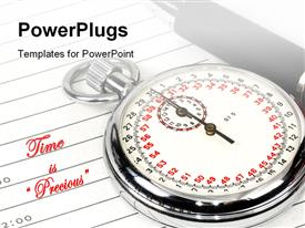 PowerPoint template displaying analog stop watch with fountain pen laying on notepad