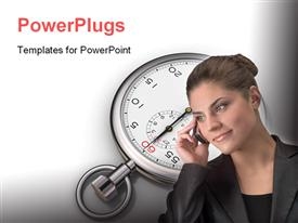 PowerPoint template displaying smiling business woman and schedule in the background.