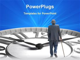 PowerPoint template displaying large clock with an elderly man walking on it