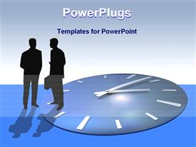 PowerPoint template displaying two business persons with clock