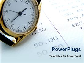 PowerPoint template displaying a wrist watch on a paper with lots of numbers