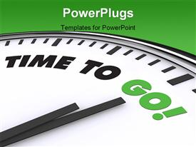 PowerPoint template displaying a clock with a greenish background