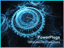 PowerPoint template displaying animated depiction of lots of clocks on a black background