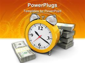 PowerPoint template displaying an alarm cloch with dollar bills stacked up around it