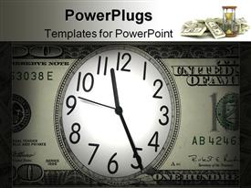 PowerPoint template displaying close up shot of a clock in 100 American dollar
