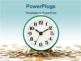 PowerPoint template displaying isolated depiction of clock on background of money as aphorism Time is money
