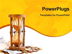 Old hourglass (made in India XIX century) with Euros powerpoint template