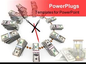 PowerPoint template displaying clock made with ascending stacks of dollar bills in bundles