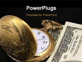 PowerPoint template displaying a close up view of a gold colored pocket watch  on some dollar bills