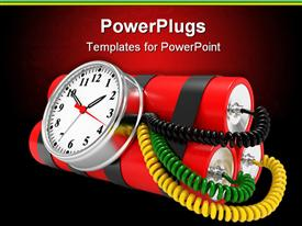 PowerPoint template displaying time bomb with dynamite and timer