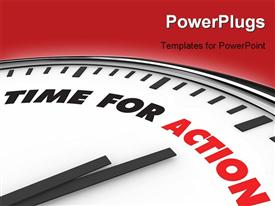 White clock with words Time for Action on its face  coaching powerpoint theme