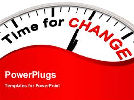 Time for Change as motivation on a Clock powerpoint design layout