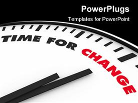 PowerPoint template displaying white clock with words Time for Change on its face