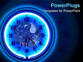 Blue neon clock with coins Time is Money presentation background